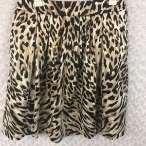 WHBM Animal Print Pleated Circle Skirt Sz 8